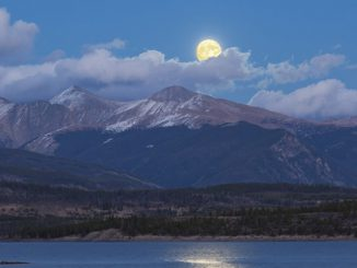 Supermoon over mountains